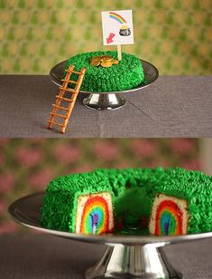St Patrick's Day rainbow leprechaun-trap-cake! Fun! Need an Angel Food Cake Pan? http://www.cheftools.com/Angel-Food-Tube-Cake-Pans/products/1093/ Need food coloring gel? http://www.cheftools.com/Gel-Paste-Food-Coloring/products/1328/