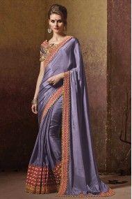 Pure Georgette Heavy Embroidery Designer Saree In Purple Colour