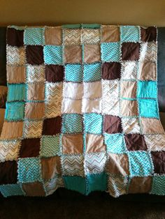 Living Room Decor Brown and Teal Chevron Pattern Rag Quilt, Chevron Quilt, Lap Blanket, Home Decor, Throw Blanket, Handmade Gift
