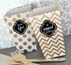 He Popped The Question Popcorn Boxes w/ Stickers Engagement Favor Engagement Party Favor Box Engagement Party Ideas 2| (EB4008ENG) 24 pcs