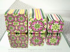 S.Arzalier @lias Cristalline www.cristalline.blogspot.com Polymer Clay Canes, Make Your Own, How To Make, Bob Ross, Floral Tie, Really Cool Stuff, Decorative Boxes, Gift Wrapping, Inspiration