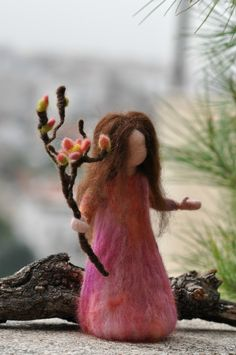 Needle felted Waldorf Plum maiden- soft sculpture -needle felt by Daria Lvovsky. $42.00, via Etsy.