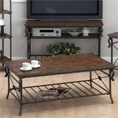 Lowest price online on all Zuo Civic Center Long Coffee Table in Distressed Natural - 98123