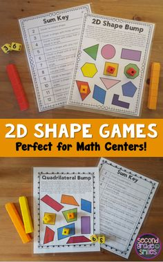 2D Shape Games- 5 interactive partner or small group games to help your students practice recognizing shapes and their attributes. Perfect math centers! $