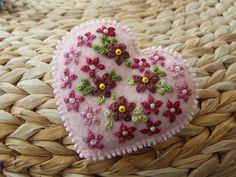 Hand Embroidered Pale Pink Coloured Felt ♥ by sweetheartsandroses, $14.00