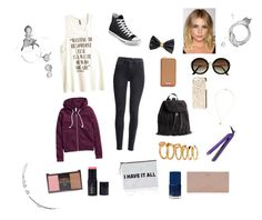 """""""A little positive message for your Monday"""" by rla099274 ❤ liked on Polyvore featuring H&M, Converse and Forever 21"""