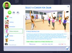 Mod The Sims - Fitness Instructor Career