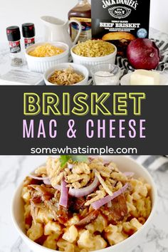 Creamy, cheesy macaroni topped with barbecue brisket, and crispy french fried onions – this Brisket Mac and Cheese recipe is a delicious crowd-pleaser! Best Dinner Recipes, Entree Recipes, Side Dish Recipes, Side Dishes, Bacon Mac And Cheese, Best Mac And Cheese, Non Sandwich Lunches, Disney Dishes, Bbq Brisket