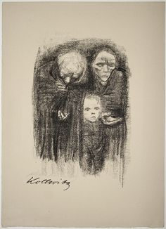 Kaethe Kollwitz Paintings | Wehrt dem Hunger! Kauft Ernährungsgeld, 1924