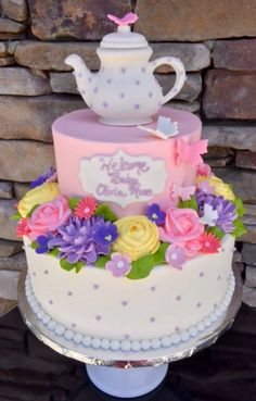 Tea party and flower themed baby shower cake with an edible, sculpted teapot on tops and dainty buttercream details Tea Party Baby Shower, Baby Shower Cakes, Baby Shower Themes, Pudding Pop, Tea Party Theme, Candle Holders Wedding, Amazing Cakes, Wedding Centerpieces, Tea Pots