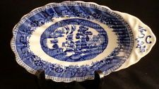 Vintage Blue Willow Buffalo China Shrimp Plate