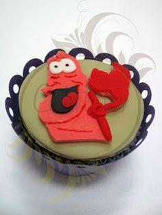 Caketutes Cake Designer: Cupcakes Pequena Sereia - The Little Mermaid Cupcakes - Sebastian Flounder - Sea Cupcake