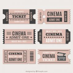 Assortment of cinema tickets in vintage style Free Vector Auswahl an Kinokarten im Vintage-Stil Free Vector Ticket Cinema, Cinema Cinema, Soirée Pyjama Party, Admit One Ticket, Scrapbook Paper, Scrapbooking, Ticket Design, Tumblr Stickers, Movie Tickets