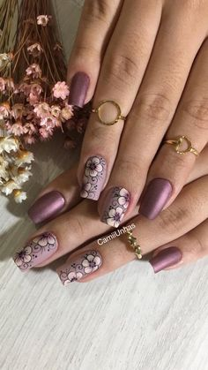 Faça você mesma, unhas lindas e decoradas. Fabulous Nails, Gorgeous Nails, Cute Nails, Pretty Nails, Nagel Stamping, Modern Nails, Flower Nail Art, Beautiful Nail Designs, Purple Nails