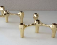 Danish Modern Candle Holders  Brass Candle Sticks Set of 2