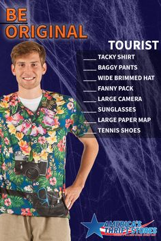 Let your tacky shine with a tourist costume made on the cheap from the thrift store! #BeOriginal