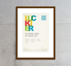 The harder I work the luckier I get poster Frame, Handmade Gifts, Poster, Etsy, Vintage, Picture Frame, Kid Craft Gifts, Craft Gifts, Vintage Comics