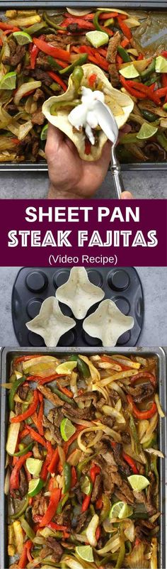 Sheet Pan Steak Fajitas With Taco Bowls – one of the easiest healthy dinner recipes. All you need is only a few simple ingredients: Mixed Bell peppers, sliced onions and steak, mixed with some simple spices (ground cumin, chili powder, garlic powder, salt and olive oil). Perfectly baked in the oven, and served on baked tortilla bowls. Simply Yummy! Make-ahead recipe. Quick and easy dinner recipe.   tipbuzz.com