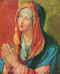 Albrecht Dürer.  Betende Maria. 1518, Holz, 53 × 43 cm. Berlin, Gemäldegalerie. Deutschland. Renaissance.  KO 02796