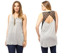 Caddie Top In Heather Grey by BB Dakota,Available in sizes 1X-3X