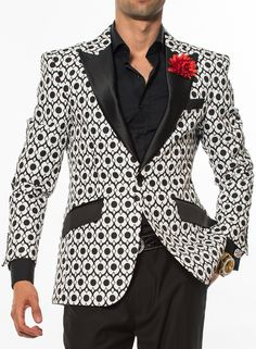 Angelino Fashion Blazer, black and white woven fabric with black satin lapel and pocket flaps. Two front single buttons, double vent, and four kissing sleeve buttons.