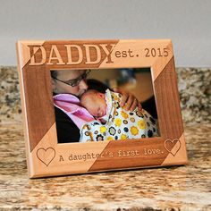 Personalized Dad Picture Frame From Daughter - Daddy A Daughters First Love - Fathers Day Gift - Fathers Birthday Gift by PWEGifts on Etsy https://www.etsy.com/listing/223892690/personalized-dad-picture-frame-from