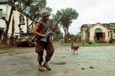 Marine machinegunner at the Battle of Hue, 1968. ~ Vietnam War