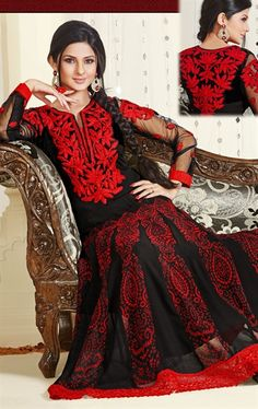 Picture of Charming Black and Red Salwar Kameez