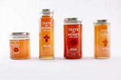 Branding for honey product. Includes: honey jars, wooden honey sampler, honey sticks and recipe cards. Organic Packaging, Honey Packaging, Beer Packaging, Food Packaging Design, Brand Packaging, Product Packaging, Packaging Ideas, Honey Bottles, Bottles And Jars