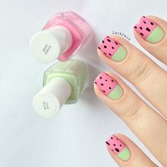 Pink and Seafoam Green Watermelon Nails