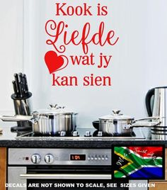 Afrikaans Die Kombuis Is Die Hart Van Ons Huis Kwotasie Muurplakker Vinyl Decal Verskeie Groottes Wall Sticker, Vinyl Decals, Wall Decals, Wall Art, African Market, Home Quotes And Sayings, Quote Board, Afrikaans, Beautiful Wall