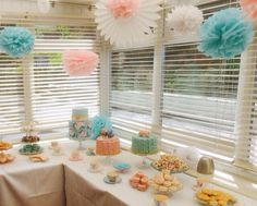 Tiffany Blue and Pink Dessert Table with Pom Poms's and Fan's