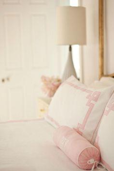 cynthia brooks design. antique brass bed, pale pinks.