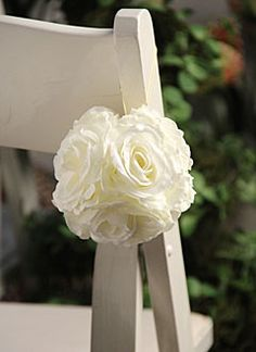 White Rose Kissing Pomander Ball - 4 Inch
