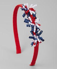 Red & Navy Ribbon Headband