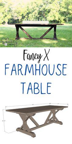 Fancy X Farmhouse Table Diy Furniture Building, Diy Furniture Plans, Diy Furniture Projects, Woodworking Projects Diy, Furniture Makeover, Woodworking Plans, Wood Furniture, Farmhouse Wall Decor, Farmhouse Furniture