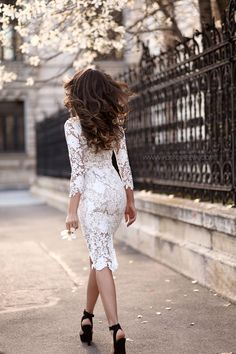 Street Style, April Silvia Postolatiev is wearing a white Ivoire lace dress  with a pair of black heels - So feminine! - black and gray dress, halter  dress, ... 8fd3026e571