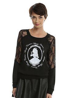 Disney Alice In Wonderland Lace Shoulder Girls Pullover Top, BLACK