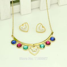 Find More Jewelry Sets Information about Dubai 18K gold plated Jewelry Beautiful Color Crystal Butterfly Necklace Earrings Wedding Costume jewelry Set Free shipping,High Quality jewelry ladies,China jewelry box for earrings Suppliers, Cheap jewelry distributor from AE Jewelry&sport jerseys on Aliexpress.com