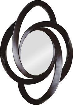 Cet audacieux miroir contemporain dispose d'un cadre annelé aux dimensions intéressantes dans une finition brune foncée / This bold contemporary mirror features an interesting dimensional ringed frame design in a dark brown finish