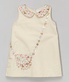 Beige Floral Purse A-Line Dress - Infant & Toddler