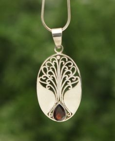 Tree of Life Sterling Silver and Garnet Necklace