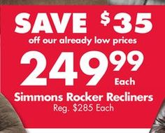 Simmons Rocker Recliners from Big Lots $249.99 (SAVE $35 off our already low prices) >