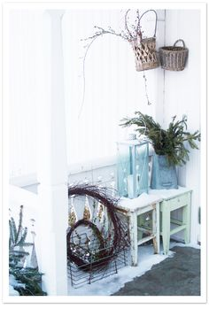 I like the baskets and the whimsy...for a screened porch one day?