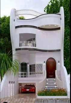 Top 30 Most Beautiful Houses Front Designs 2019 - Engineering Discoveries House Balcony Design, House Outside Design, House Gate Design, Bungalow House Design, House Front Design, Small House Design, Narrow House Designs, Modern Exterior House Designs, Cool House Designs