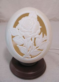 Rose Relief Carved Ostrich Egg Light