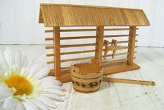 Vintage Wooden LeanTo Fence with Water Barrel  by DivineOrders, $13.00