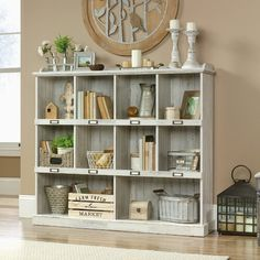 Beachcrest Home Bowerbank Standard Bookcase Color: White Plank Cube Bookcase, Etagere Bookcase, Bookshelves, Bookcase White, Ladder Bookcase, Step Bookcase, Cubbies, Plank, Adjustable Shelving