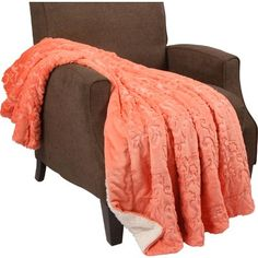 """Zipcode Design Clare Faux Fur and Sherpa Throw Blanket Color: Spice Coral, Size: 60"""" L x 50"""" W"""