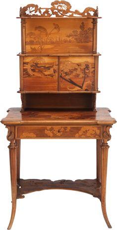 ** Emile Gallé (1846-1904), Nancy, Mahogany with Fruit Wood Inlays.